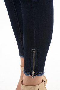Kan Can Jeans/Ankle Zipper Dark Wash