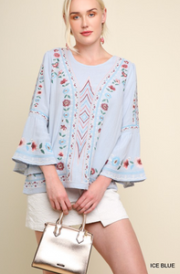 Embroidered Floral Bell Sleeve Top