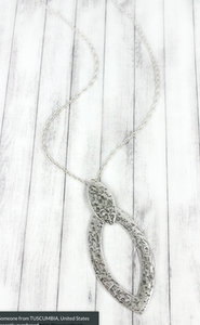 CRAVE HAMMERED SILVERTONE DOUBLE MARQUISE PENDANT NECKLACE