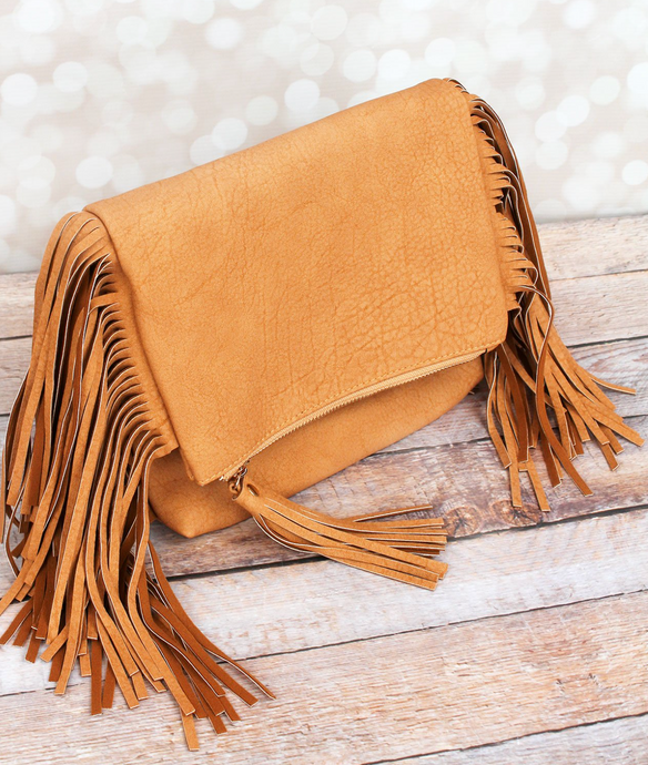 NGIL Faux Leather Fringed Crossbody Clutch