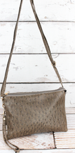 NGIL TAUPE GRAY FAUX OSTRICH LEATHER CROSSBODY CLUTCH