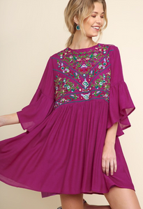 Magenta Floral Embroidered Dress