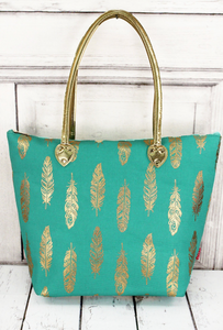 Mint and Gold Fancy Feather Shoulder Tote