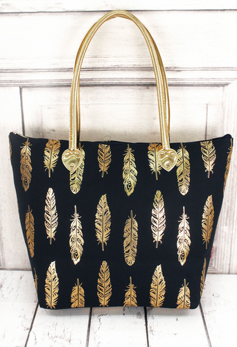 Navy and Gold Fancy Feather Shoulder Tote
