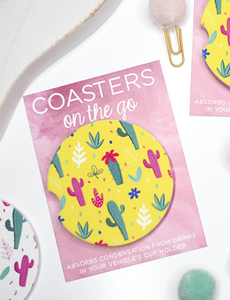 Yellow Cacti Car Coaster