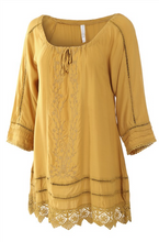 Embroidered Drawstring Neckline Top