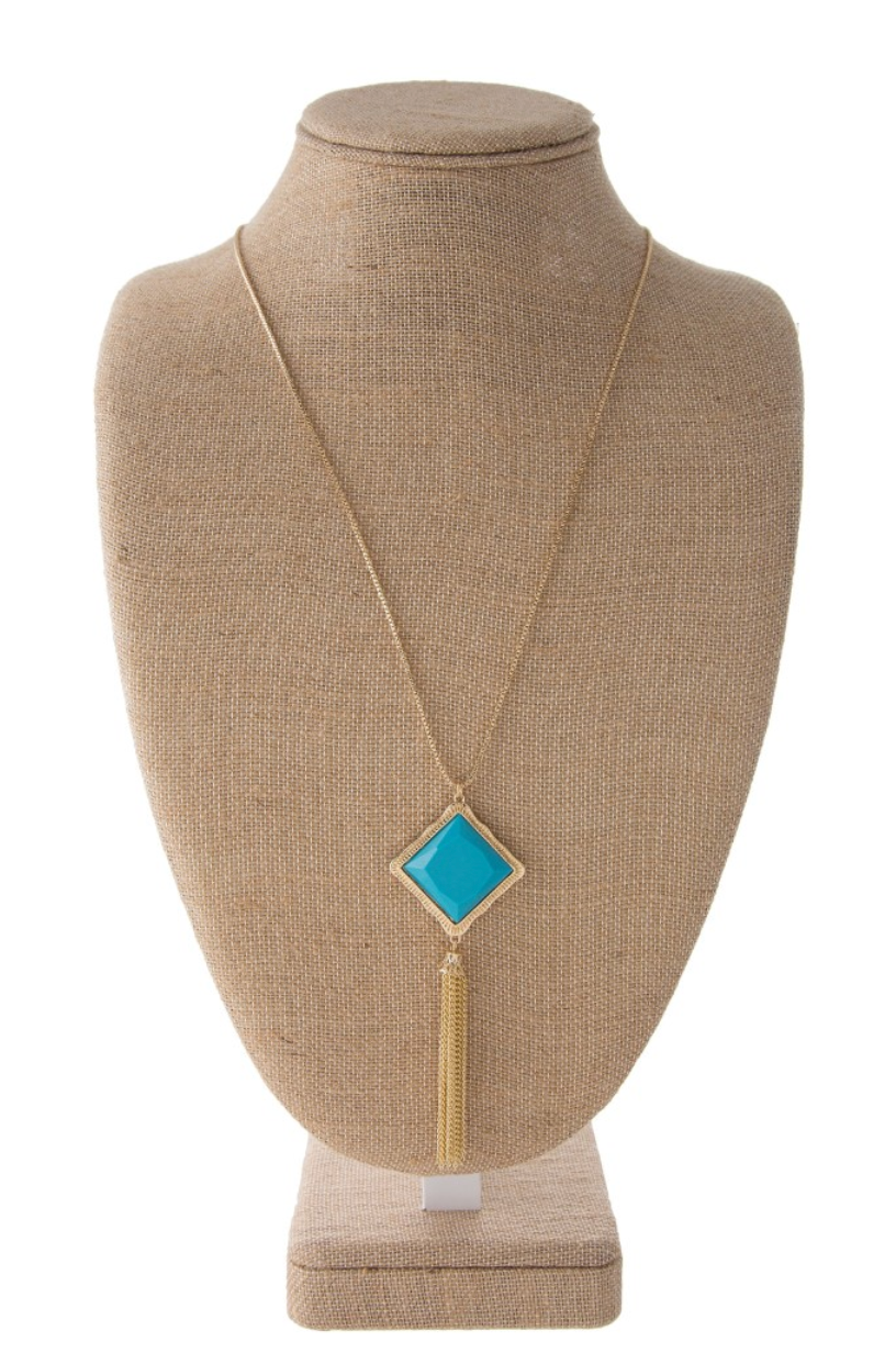 Long Gold Necklace W/ Turquoise Pendant