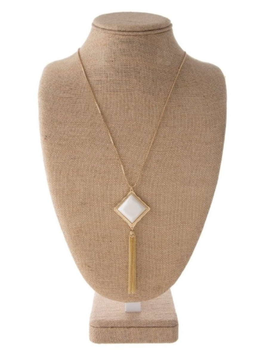 Long Gold Necklace W/ Ivory Pendant