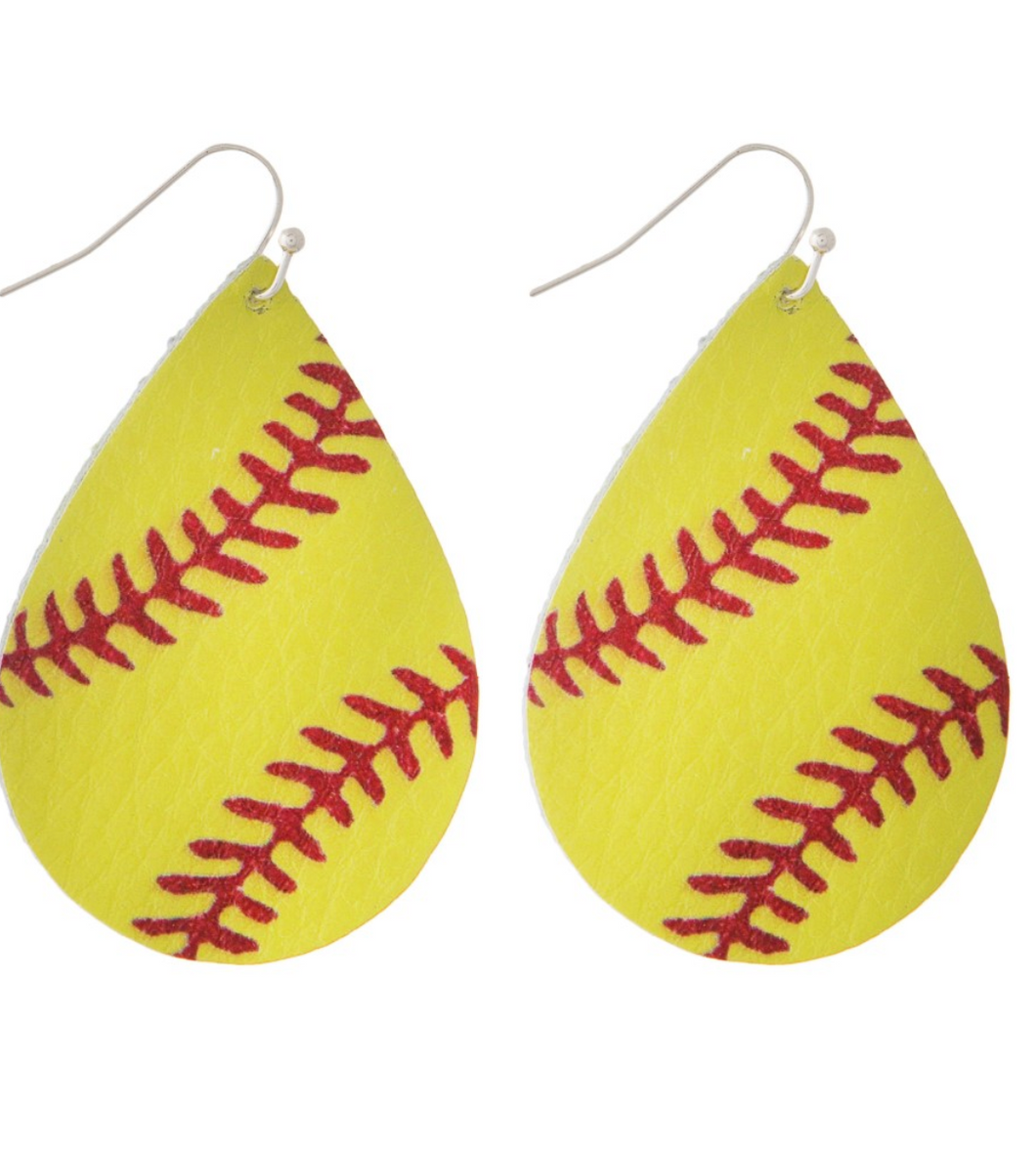 Softball Leather Fishhook Earrings