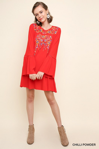 Floral Embroidered Bell Sleeve Dress - Red