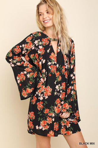 Floral Bell Sleeve Keyhole Dress