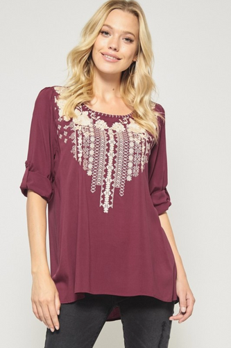 Burgundy Embroidered Top