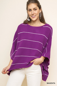 Striped Dolman Sleeve Pullover Sweater
