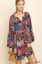 Multicolor Paisley Puff Sleeve Dress