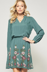 Dark Teal Embroidered Dress