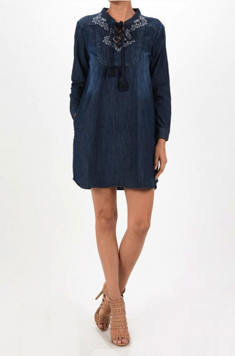 Judy Blue Tunic Dress with Embroidery
