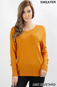 V-Neck Sweater W/ Sleeve Button Detail