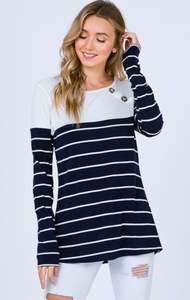Navy Striped Shirt With Buttons On Shoulder