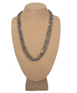 Long Natural Stone Beaded Necklace