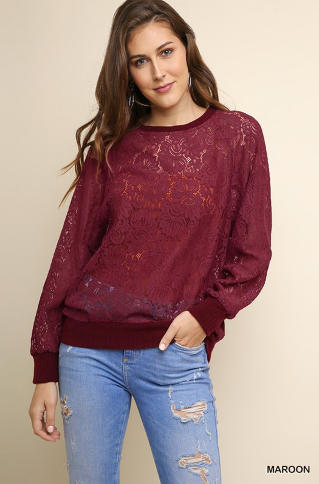 Sheer Floral Lace Long Sleeve Top