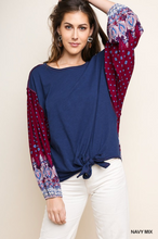 Paisley Puff Sleeve Knit Top