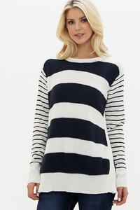 Stripe Knit Sweater W/ Side Slits