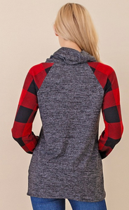The Plaid Cowl Neck Top