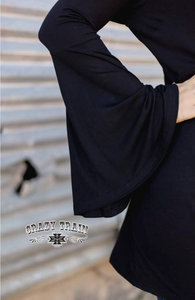 MIDNIGHT BELL BLACK KNOTTY BELL SLEEVE - CRAZY TRAIN CLOTHING