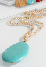 NATURAL STONE TEARDROP PENDANT NECKLACE