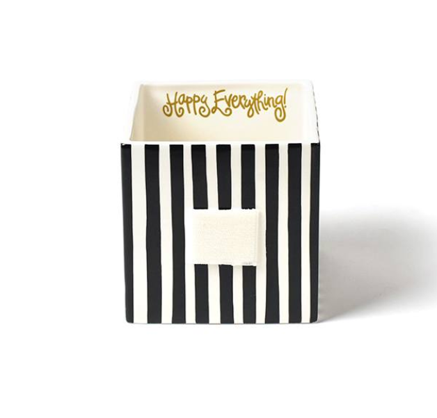 Black Stripe Medium Mini Nesting Cube - Happy Everything