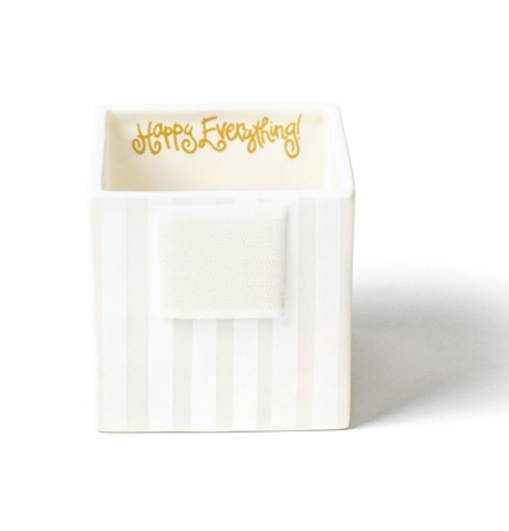 White Stripe Small Mini Nesting Cube - Happy Everything