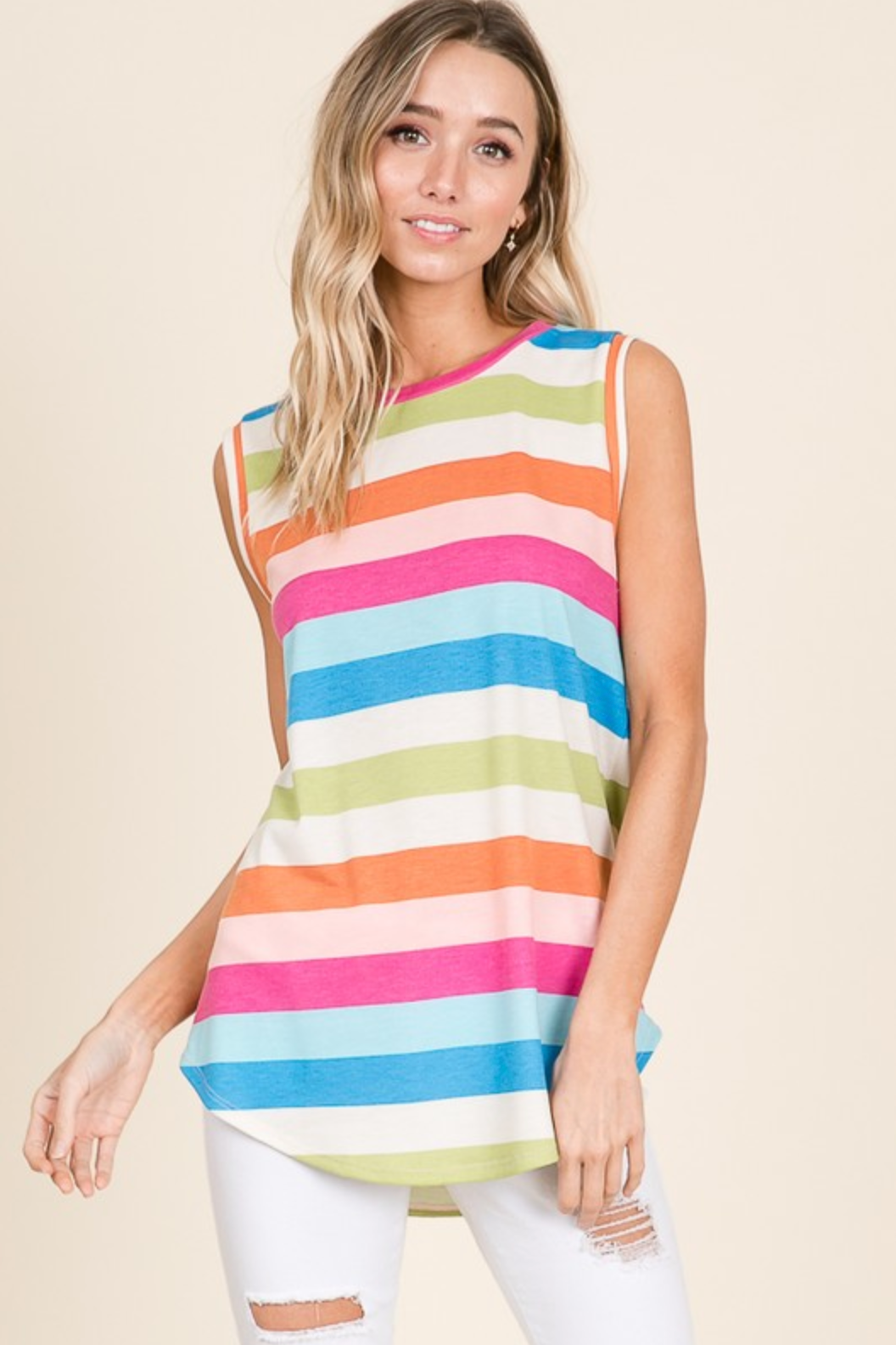 MULTI COLOR STRIPE SLEEVELESS TOP