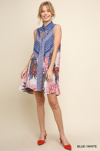 Floral and Paisley Print Sleeveless Dress