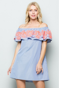Floral Embroidery Off Shoulder Dress