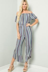 Off Shoulder Striped Jumpsuit