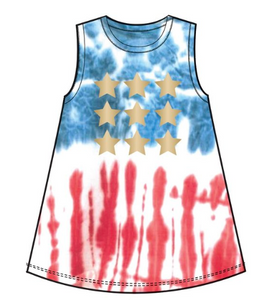 Tie Dye Star Print Swing Tank - Tween