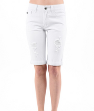 KanCan Distressed Long White Shorts