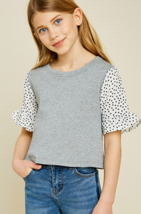French Terry Star Sleeve Top - Tween