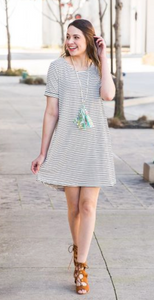 Striped T-shirt Dress W/ Back Knot