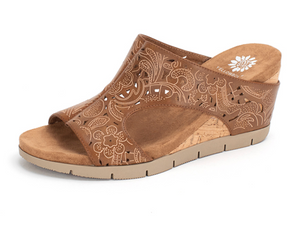 TAN MODI WEDGE SANDALS