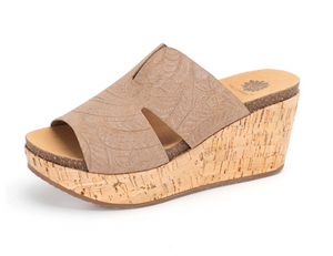 TAN GENESYS WEDGE SANDALS