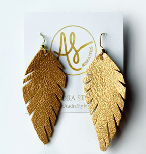 Faux Leather Feather Leaf Earrings