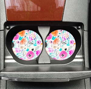 White & Colorful Floral Car Coaster