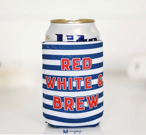Red White And Brew Can Coolie