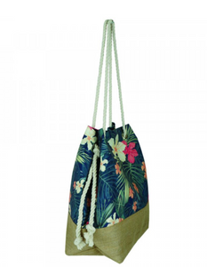 Tropical Flower Print Beach Bag