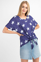 NAVY STAR PRINT V-NECK TOP