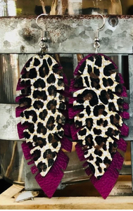 Leopard & Magenta Banana Leaf Earrings