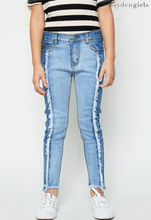 Two Tone Frayed Denim Jeans - Tween