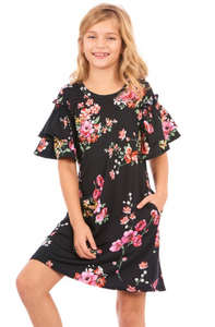 Ruffle Layer Sleeve T-Shirt Dress - Tween