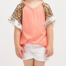 Short Sleeve Leopard Lace Solid Top - Tween